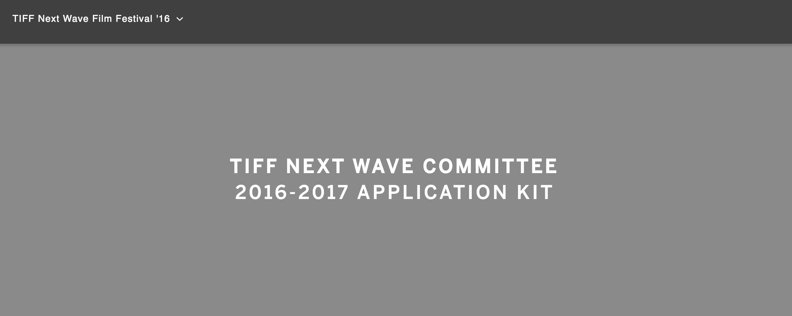 TIFF Next Wave Committee Applications are Available